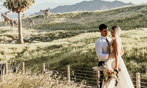 Imagine saying 'I do' as giraffe wander behind you.