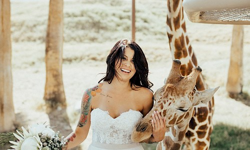 Add a photo posing with a giraffe for your wonderful wedding album.