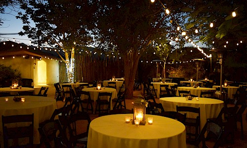 The outdoor venue makes a wonderful dinner under the stars.