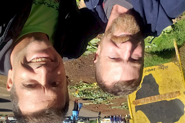 James and Mike at the Equator in Kenya