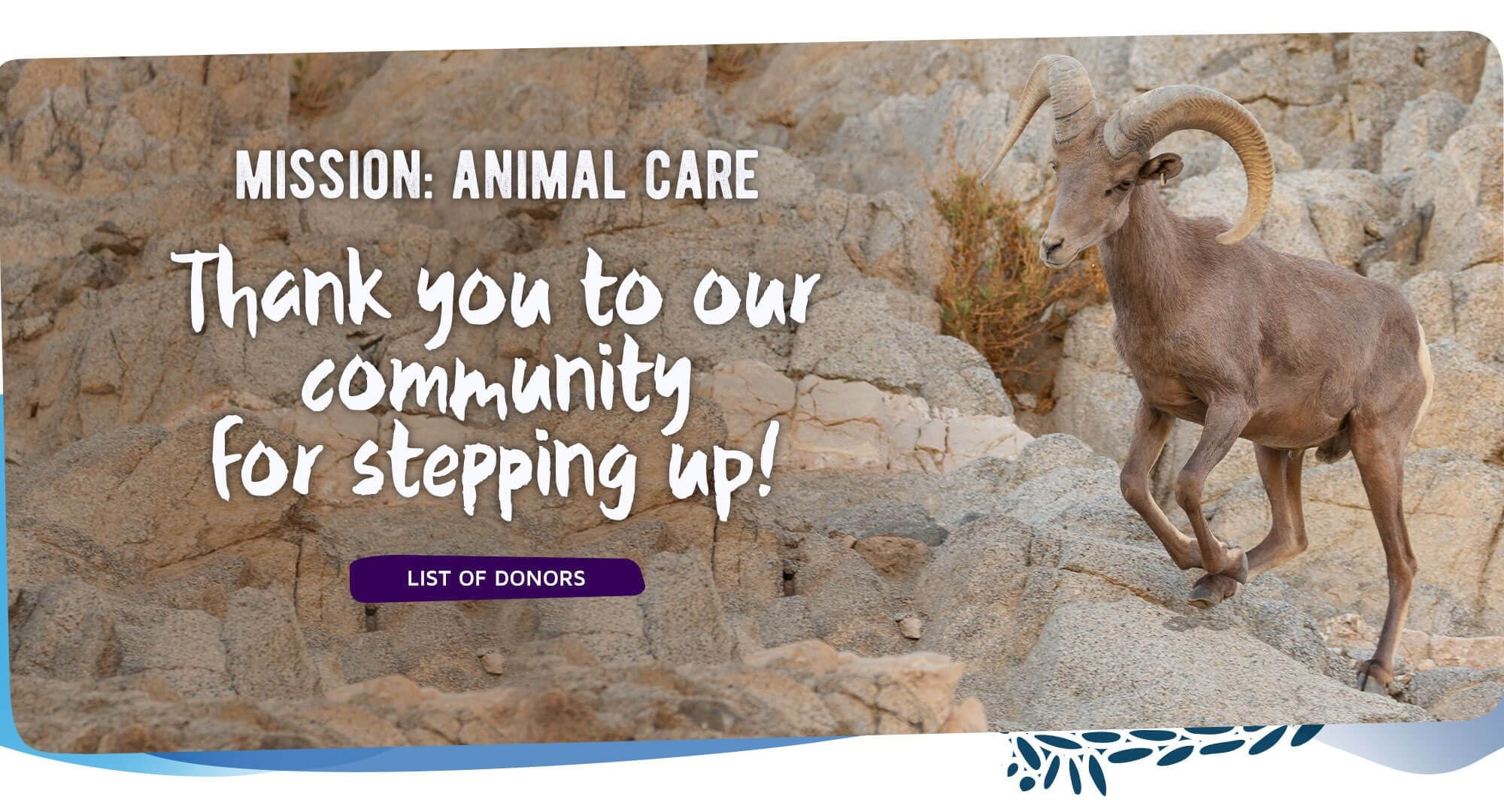 Mission: Animal Care - Thank you to our community for stepping up. Click to see list of donors.