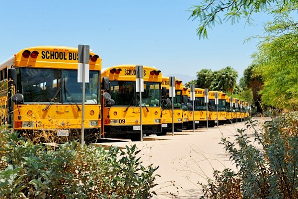 school buses at the living desert